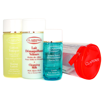 Para a pele da mulher, Clarins, Clarins Everyday Cleansing Coffret (Normal to Dry Skin): Cleansing Milk  Toning Lotion  Eye M/U Remover 3pcs