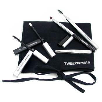 Tweezerman Brow Grooming Solution Kit: Slant Tweezer + Soothing Crm + 2x Brush + BrowMousse + Case 5pcs+1case