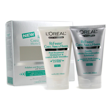 L'Oreal Micro-Dermabrasion Kit ( Refinish Chest Arms & Hands ) : Exfoliator + Moisturizer