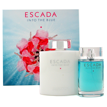 Escada Into The Blue Coffret: Eau De Parfum Spray 75ml + Body Moisturizer 200ml 2pcs
