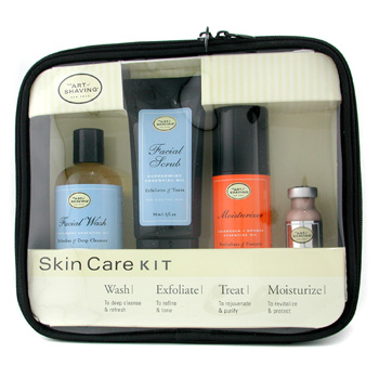 The Art Of Shaving Skincare Kit ( For Sensitive Skin ): Facial Wash + Facial Scrub + Moisturizer + After Shave Mask