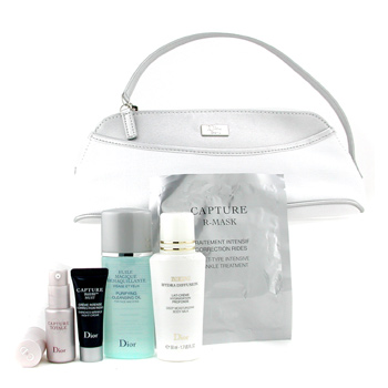 Para a pele da mulher, Christian Dior, Christian Dior Travel Set: Cleansing Oil + Night Crm + Capture Totale + R-Mask + Bikini B/M + Bag 5pcs+1bag