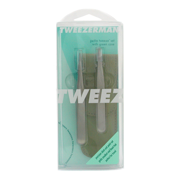 Tweezerman Petite Tweeze Set: Slant Tweezer + Point Tweezer - ( With Green Leather Case )
