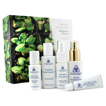 Jurlique Rebalance Oiliness Set: Floral Water + Cleanser + Face Wash + Herbal Recovery Gel + Day Lotion 5pcs
