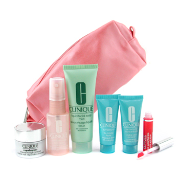 Clinique Travel Set: Cleanser + Face Spray + Turnaround Renewer + Mask + Repairwear Night Cr. + Lipgloss 6pcs+1bag