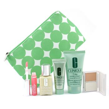 Para a pele da mulher, Clinique, Clinique Travel Set: DDML 30ml + Scrub Crm. 50ml + Moisturizer 15ml + Mini Powder maquiagem + Lipgloss 2.4ml + Bag 5pcs+1bag