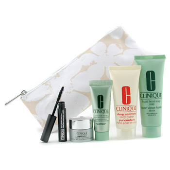 08372780414 Clinique Travel Set: Facial Soap + Continuous Cream + Repairwear Eye Cream + Body Butter + Mascara 5pcs+1bag