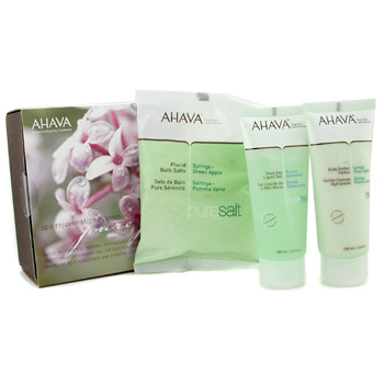 Para a pele da mulher, Ahava, Ahava Spa Rejuvenation System: Dead Sea Bath Crystals  250g + Liquid Salt 100ml + Sorbet Caress 100ml 3pcs