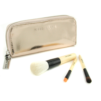 Bobbi Brown Copper Diamond Mini Brush Set: Face Blender Brush+ Eye Shadow Brush+ Eye Liner Brush+ Case 3pcs+1case