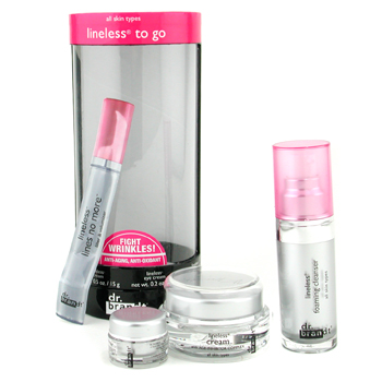 buy Dr. Brandt Lineless To Go: Cleanser 15ml + Crem 15g + Eye Cream 5g + Lines No More 0.5ml 4pcs  skin care shop