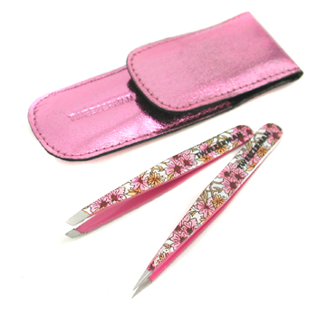 Tweezerman Petite Tweeze Set ( Dream Garden Collection ): Slant Tweezer + Point Tweezer - Pink
