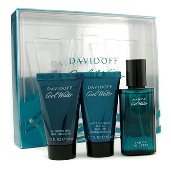 Davidoff Cool Water Coffret: Eau De Toilette Spray 40ml + Shower Gel 50ml + After Shave Balm 50ml 3pcs