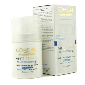 Para a pele da mulher, L'Oreal, L'Oreal Dermo-Expertise White Perfect Re-Lighting Whitening Moisturizing Day Cream SPF20 PA++ 50ml