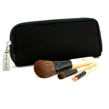 Bobbi Brown Mini Brush Set: Blush Brush + Eye Shadow Brush + Eye Liner Brush + Black Case 3pcs+1case
