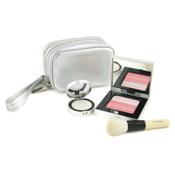 Bobbi Brown Pretty In Pink Collection ( Shimmer Brick Compact + Glitter Lip Balm + Mini Face Blender