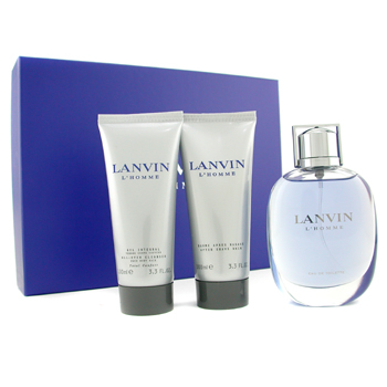 buy Lanvin L'Homme Coffret : Edt 100ml Spray + After Shave Balm 100ml + Shower Gel 100ml 3pcs  skin care shop