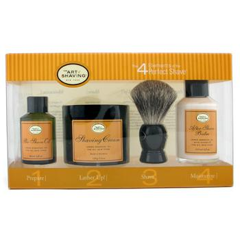 The 4 Elements Of The Perfect Shave - Lemon - Pre Shave Oil, Shave Cream, A/S Balm, Brush