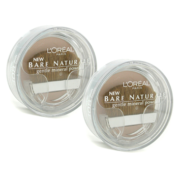 Maquiagens, L'Oreal, L'Oreal Bare Naturale Gentle Mineral Powder Compact with Brush Duo Pack - No. 408 Soft Ivory 2x9.5g/0.33oz
