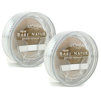 Maquiagens, L'Oreal, L'Oreal Bare Naturale Gentle Mineral Powder Compact with Brush Duo Pack - No. 410 Light Ivory 2x9.5g/0.33oz