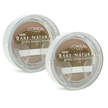 Maquiagens, L'Oreal, L'Oreal Bare Naturale Gentle Mineral Powder Compact with Brush Duo Pack - No. 414 Creamy Natural 2x9.5g/0.33oz