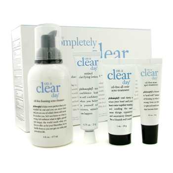 Philosophy On A Clear Day Completely Clear Skin System: Limpiador + Tratamiento Acné + Tratamiento M
