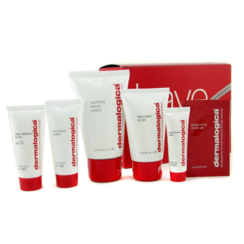 buy Dermalogica Men Shave System Kit: Scrub + Pre Shave Guard + Shave Cream + Post Shave Balm + Daily Defense Block 5pcs  skin care shop
