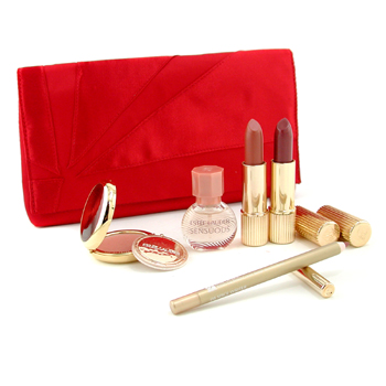 Perfumes femininos, Estee Lauder, Estee Lauder Travel Set: Sensuous Minature + Signature Powder + Signature Lipstick + Pure Color Lipstick + Artist's Lip Pencil + Red Bag 5pcs+1bag
