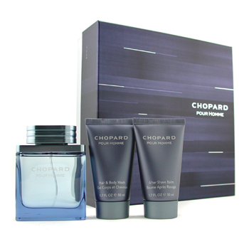 Perfumes masculinos, Chopard, Chopard Pour Homme Coffret: Edt Spray 50ml/1.7oz + Body Wash 50ml/1.7oz + A/S Balm 50ml/1.7oz 3pcs