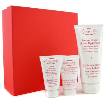 Para a pele da mulher, Clarins, Clarins Smoothing and Moisturizing Collection: Body Lotion 200ml/7oz + Hand & Nail Cream 50ml/1.7oz + Body Scrub 30ml/1.04oz 3pcs