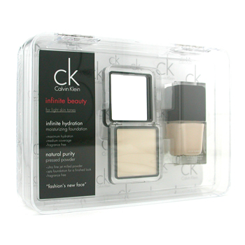 Calvin Klein Infinite Beauty Set - For Light Skin Tones ( Base Maquillaje # 113, Polvos Prensados #