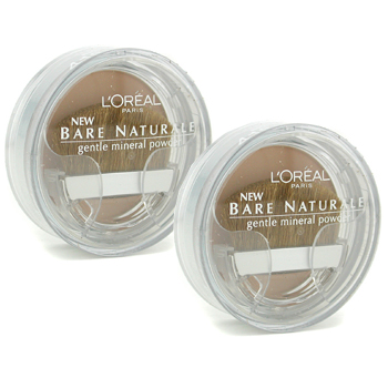 Maquiagens, L'Oreal, L'Oreal Bare Naturale Gentle Mineral Powder Compact with Brush Duo Pack - No. 418 Buff Beige 2x9.5g/0.33oz