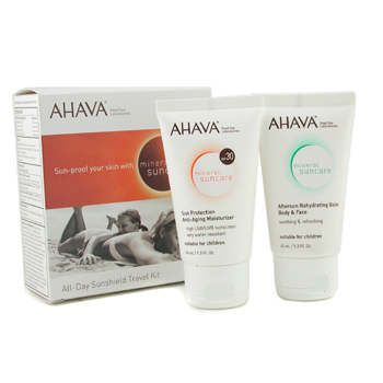 Ahava All-Day Sunshield Travel Kit: Anti-Aging Moisturizer 40ml/1.3oz + After Sun Balm 40ml/1.3oz 2pcs