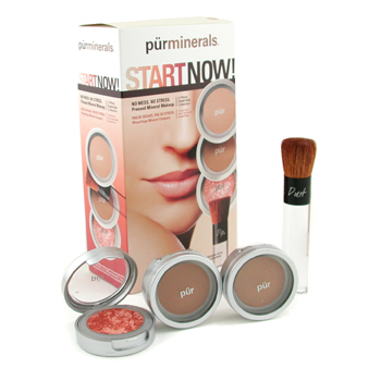 PurMinerals Start Now 4 Piece Essentials Collection - Dark ( Polvos Prensados + Brillo Mineral + Pol