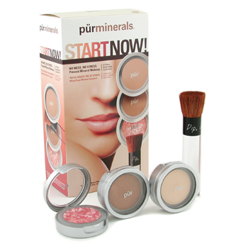buy PurMinerals Start Now 4 Piece Essentials Collection - Procelain (Pressed Powder + Mineral Glow + Marble Powder + Brush) 4pcs by PurMinerals skin care shop