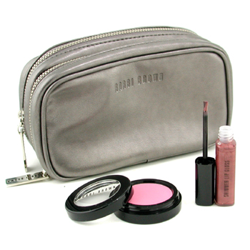 Bobbi Brown Set Maquillaje: Colorete + Shimmer Lip Gloss Labial + Neceser ( Sin Embalaje )