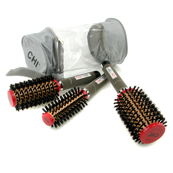 CHI Set Ceramic Round Boar Brush Stylist: Brocha Pequeña + Brocha Media + Brocha Grande