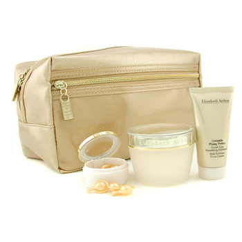Elizabeth Arden Ceramide Plump Perfect Beauty Set: Crema Día+ Exfoliante + Cápsulas Gold + Neceser