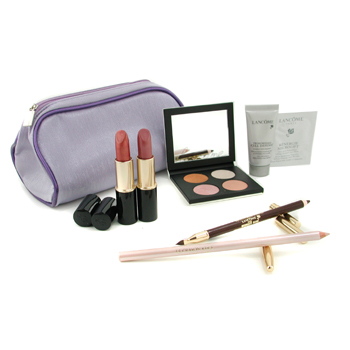 Lancome Travel Set: Serum + Active Redefining Treatment + Eyeshdow + Le Crayon Khol + Lip Colouring Stick + 2xLipstick 7pcs+1bag