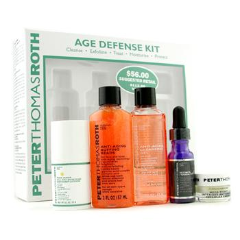 Peter Thomas Roth Age Defense Kit: Cleansing Gel + Buffing Beads + Retinol Fusion + Defense Lotion +