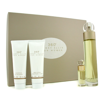 Perry Ellis 360 Estuche: Agua de Colonia Vaporizador 100ml/3.4oz+ Loción corporal 90ml/3oz+ Gel de D
