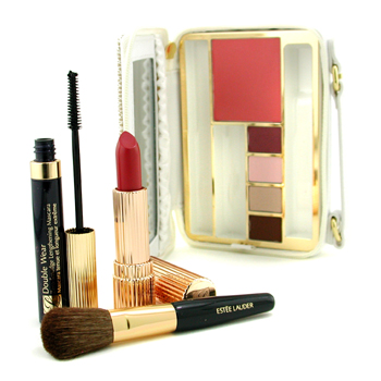 Estee Lauder The Makeup Traveler: Blush+ 4x Eyeshadow+ Mascara+ Lipstick+ Brush+ Case -