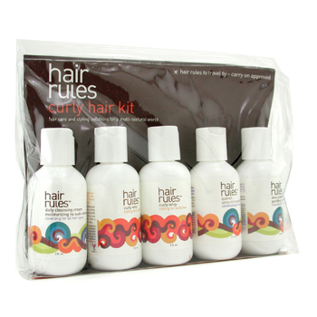 Hair Rules Curly Hair Travel Kit: Moisturizing No Suds Shampoo + Purifying Shampoo + Conditioner + Curly Whip + 6pcs
