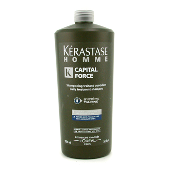 Cuidados com o cabelo, Kerastase, Kerastase Shampoo Homme Capital Force Daily Treatment  ( Contra a caspa Effect ) 1000ml/34oz