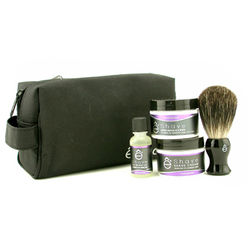 EShave Lavender Start Up Kit: Pre Shave Oil, Shave Cream, After Shave Soother, Brush, Bag