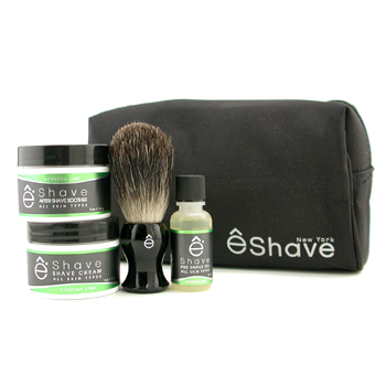 EShave Verbena Lime Start Up Kit: Pre Shave Oil, Shave Cream, After Shave Soother, Brush, Bag