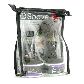 Lavender Travel Kit: Pre Shave Oil, Shave Cream, After Shave Soother, Brush, TSA Bag