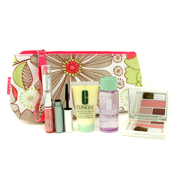 Clinique Travel Set: MU Remover + DDML + Eye Shadow Duo & Blusher + Lipgloss & Lipstick + Mascara + Bag 5pcs+1bag