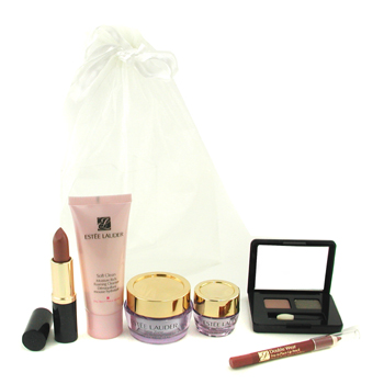 Estee Lauder Travel Set: Foaming Cleanser + Time Zone Creme SPF 15 + Eye Creme + Eyeshadow Palette + Lipstick + Lip Pencil 6pcs