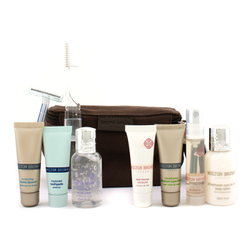 buy Molton Brown Jetpack: Facial Wash +  Body Lotion + Supershave + Ultracool Eye Gel + Mist + Lipsaver + Toothpaste + Toothbrush + Razor + Bag 9pcs+1bag  skin care shop
