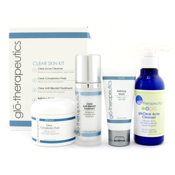 buy Glotherapeutics Clear Skin Kit: Cleanser + Complexion Pads + Anti-Blemish Trt + Mask 4pcs skin care shop